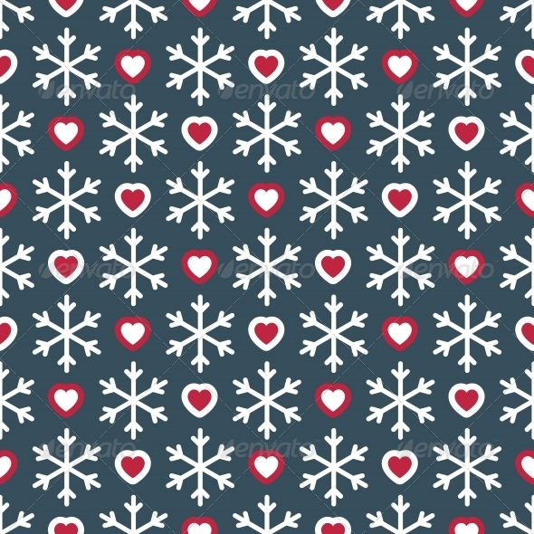 GraphicRiver Seamless Pattern with Snowflakes and Hearts 5734846