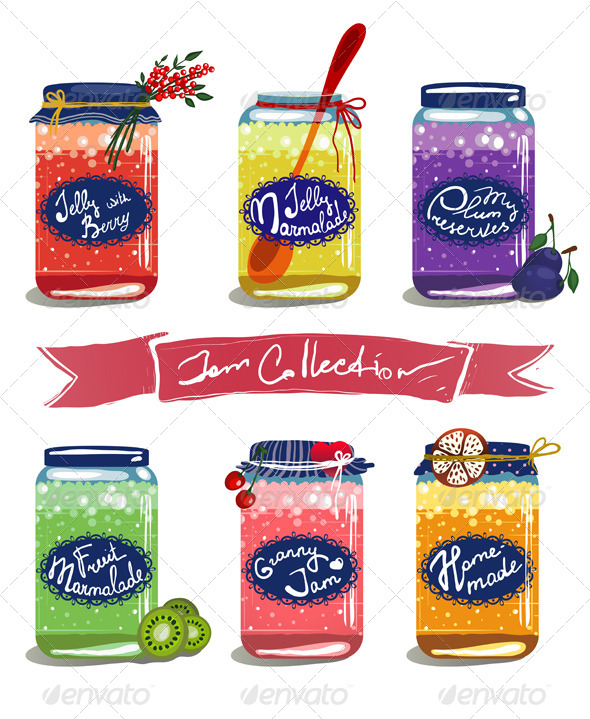 GraphicRiver Bright Canned Sweet Fruit Jam Collection 5735368