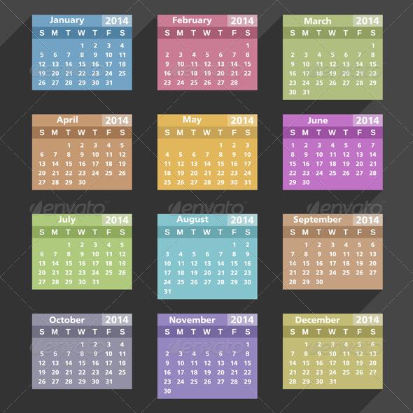 GraphicRiver Flat 2014 Calendar 5735468