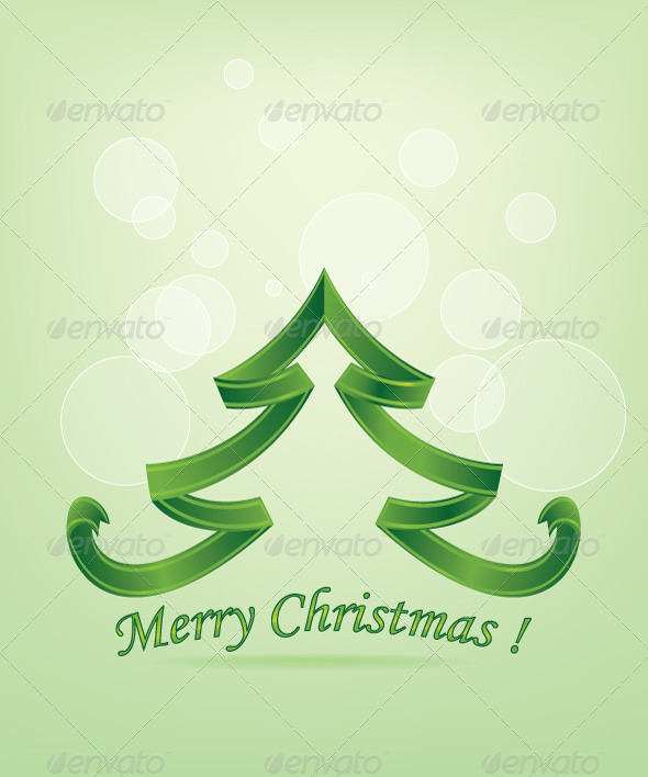 GraphicRiver Abstract Green Christmas Tree Background 5735841