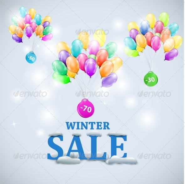 GraphicRiver Winter Sale with Colorful Ballons 5735843