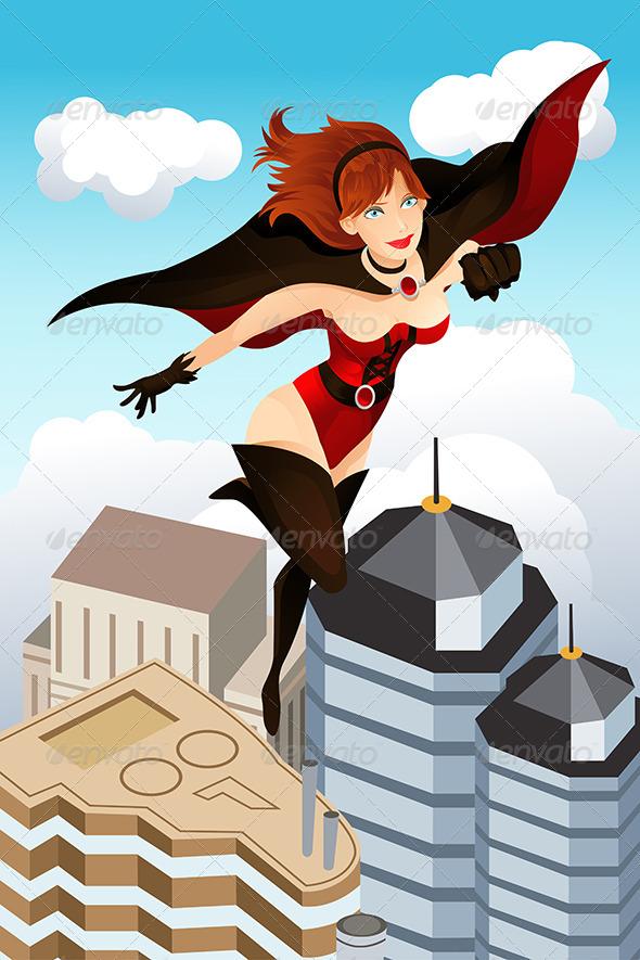 GraphicRiver Flying Superhero 5738334