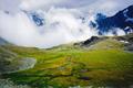 Small fenugreek. Mountain. Clouds. Snow. Green field - PhotoDune Item for Sale