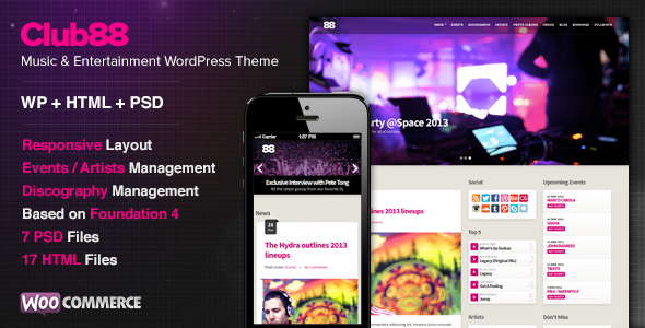 ThemeForest Club88 Premium Music WordPress Theme 5740471