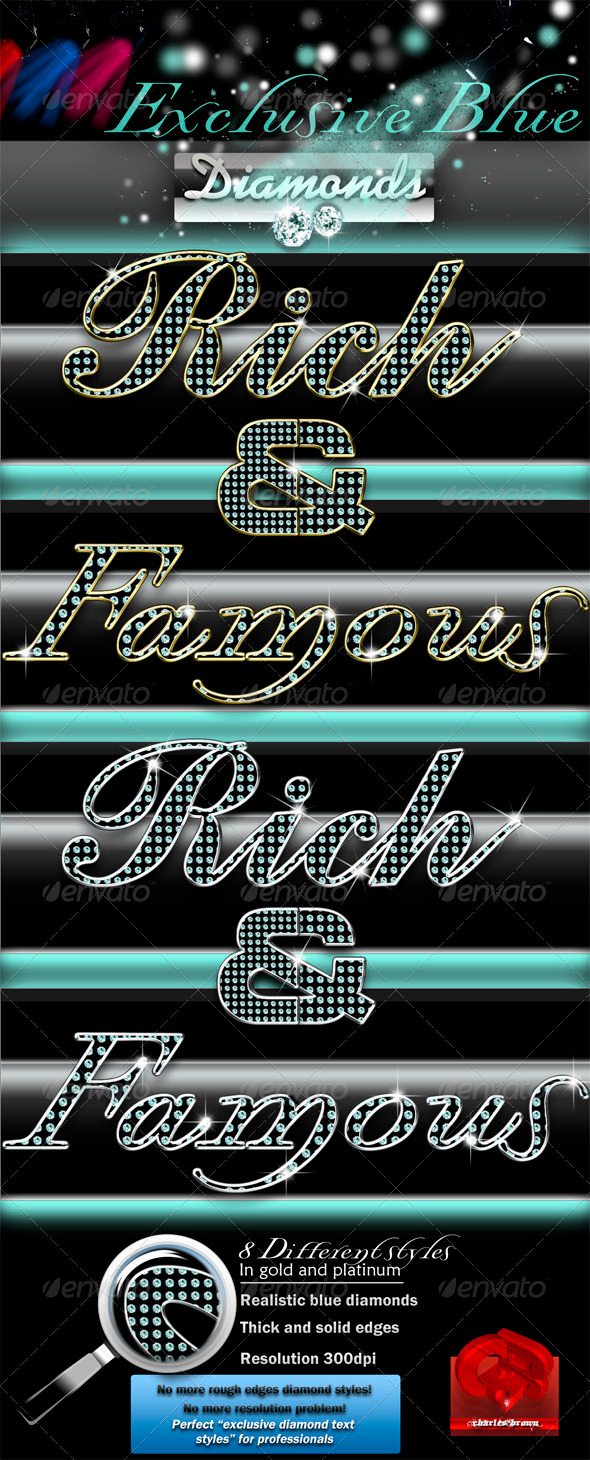 Exclusive Blue Diamonds Text Styles - Text Effects Styles