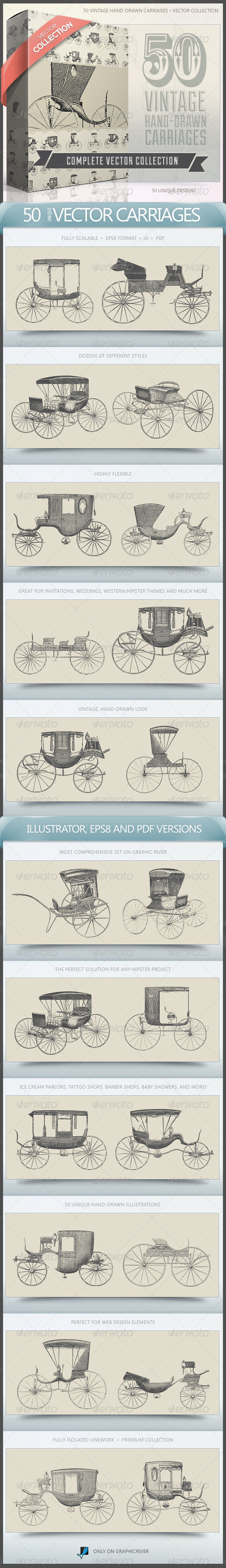 50 Vintage Hand-Drawn Carriages Collection - Man-made objects Objects