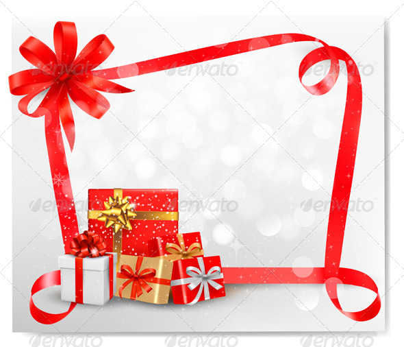 GraphicRiver Holiday Background with Red Bow and Gift Boxes 5742063
