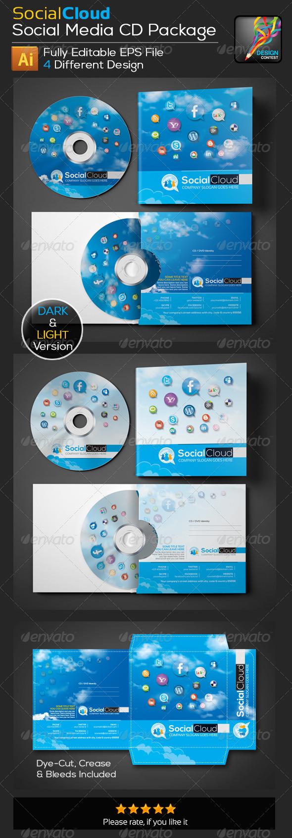 GraphicRiver Social Cloud Social Media CD Sticker 5743115