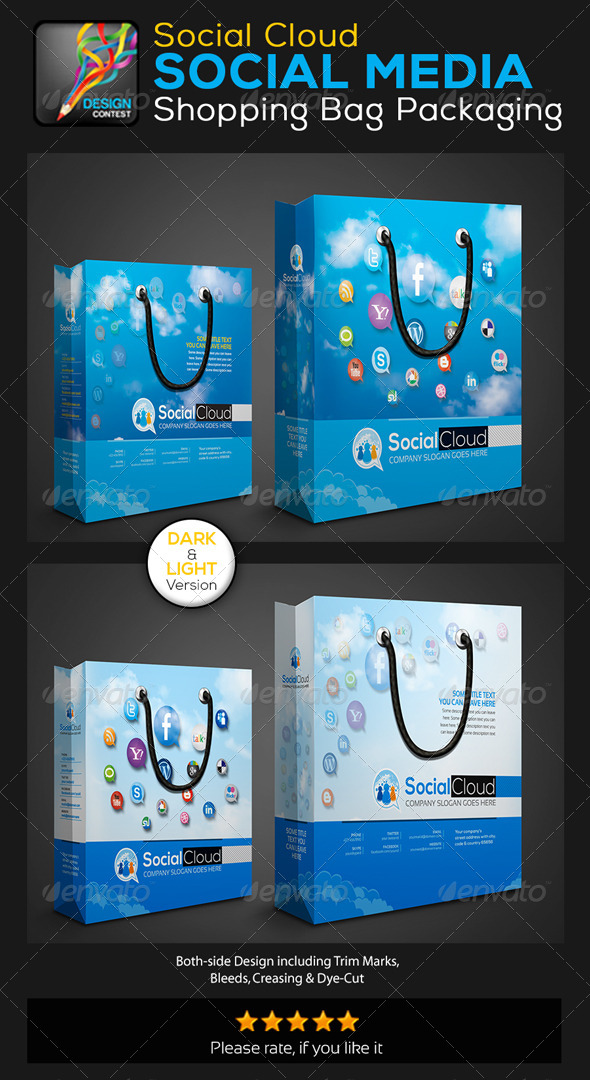 GraphicRiver Social Cloud Social Media Shopping Bag Packaging 5744165