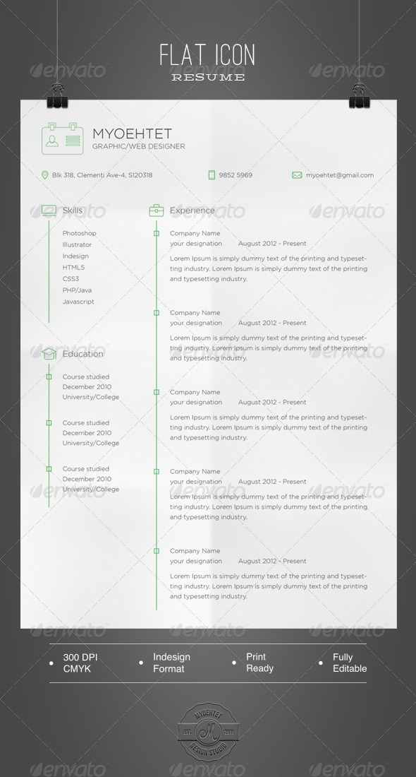 GraphicRiver Flat Icon Resume 5685428
