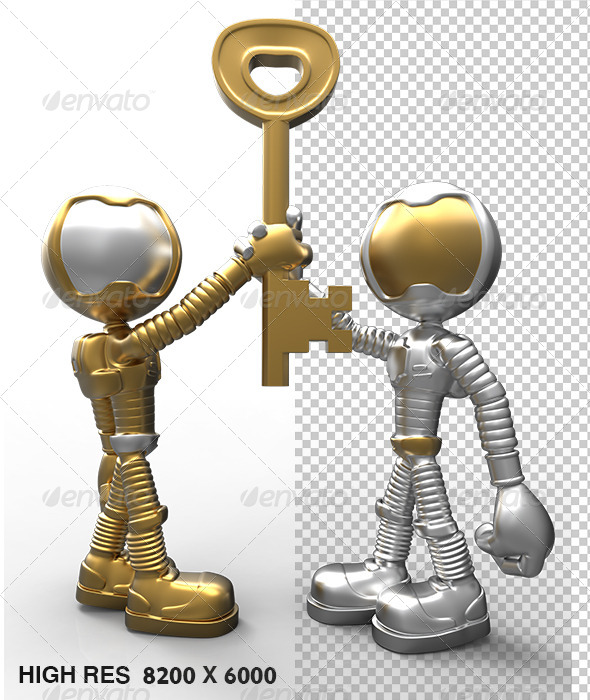 GraphicRiver Silver 3D Character Holding Success Key 2 5747207