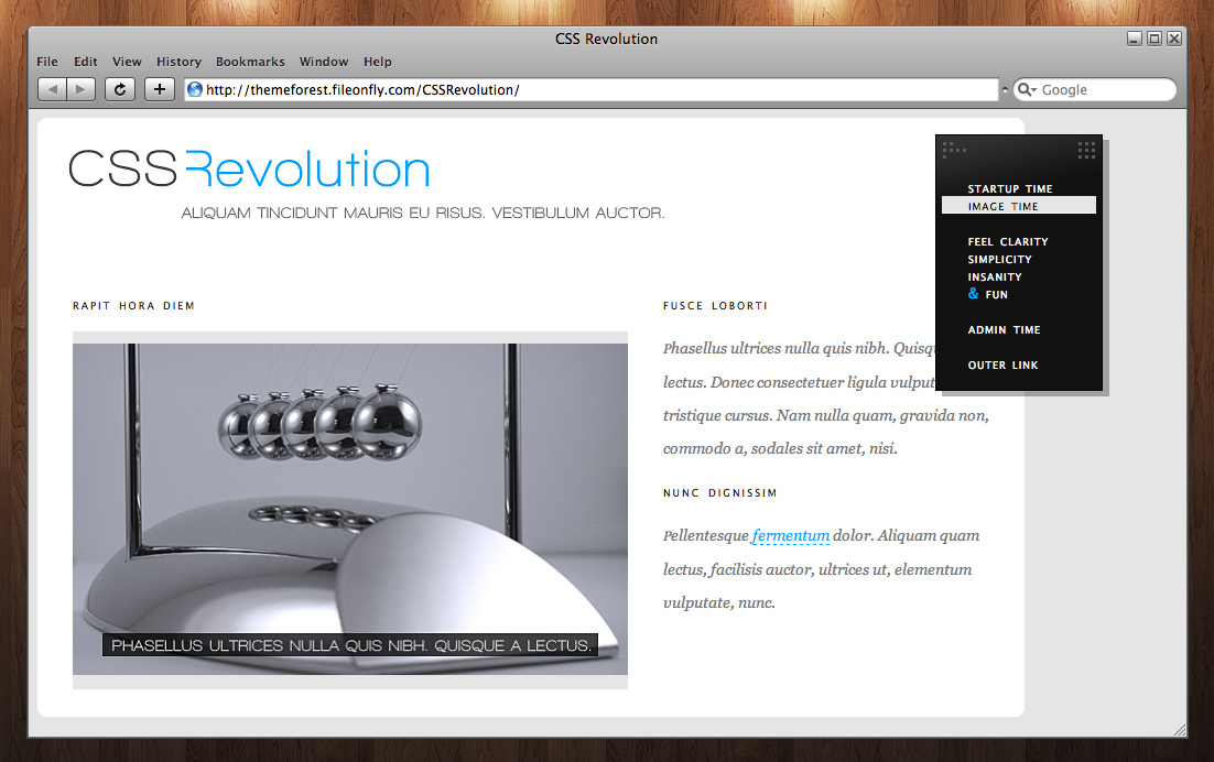 CSS Revolution - Simple page example