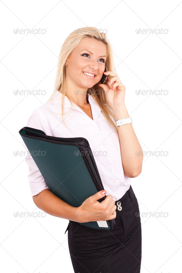 Businesswoman isolated on white - Stock Photo - Images