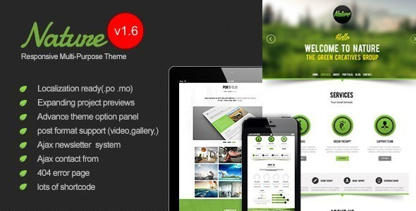 Nature - Responsive Onepage WordPress Theme - Portfolio Creative