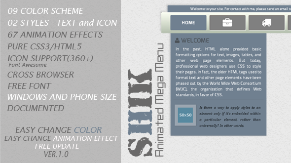 CodeCanyon Shik Animated Mega Menu 5749200