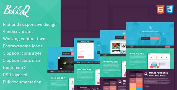 ThemeForest BekkoQ MultiPurpose Landing Page Template 5749341
