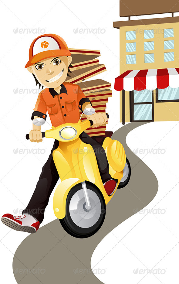 GraphicRiver Pizza Delivery Man 5750468