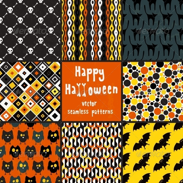 GraphicRiver Collection of Halloween Seamless Patterns 5750649
