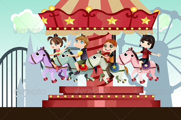 GraphicRiver Children in Amusement Park 5750773
