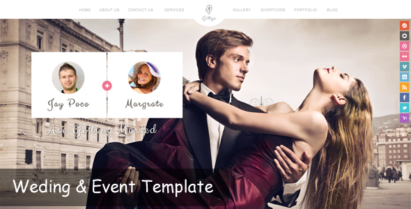 ThemeForest Gittys Responsive Wedding Wordpress Theme 5723722
