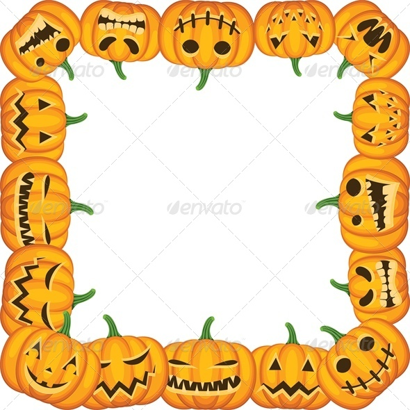 GraphicRiver Halloween Background with Pumpkin Frame 5753133