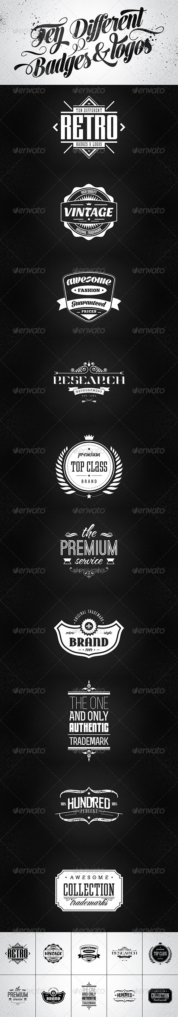10 Retro Badges & Logos vol.2 - Badges & Stickers Web Elements