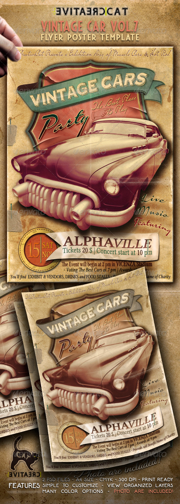 GraphicRiver Vintage Car Flyer Poster Vol 7 5754698