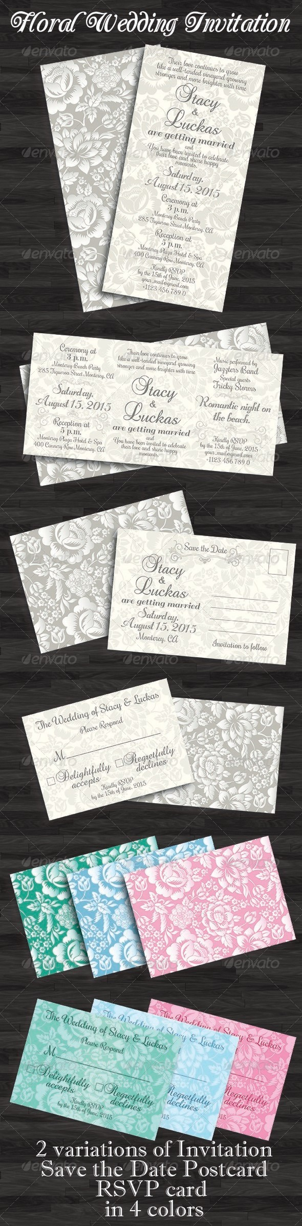 GraphicRiver Floral Wedding Invitation Save the Date & RSVP 5756207