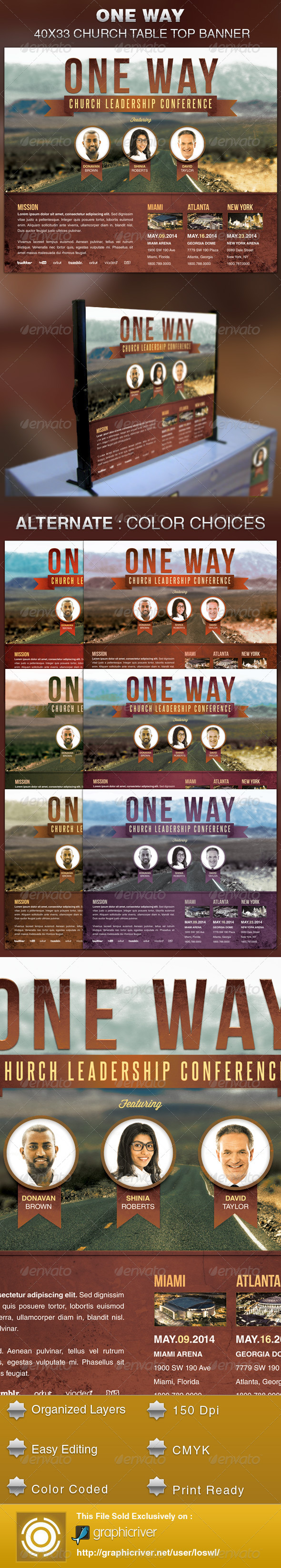 One Way Church Table Top Banner Template - Signage Print Templates