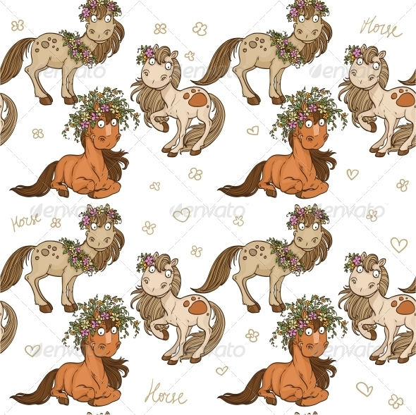 GraphicRiver Seamless Pattern with Cartoon Horses 5759321