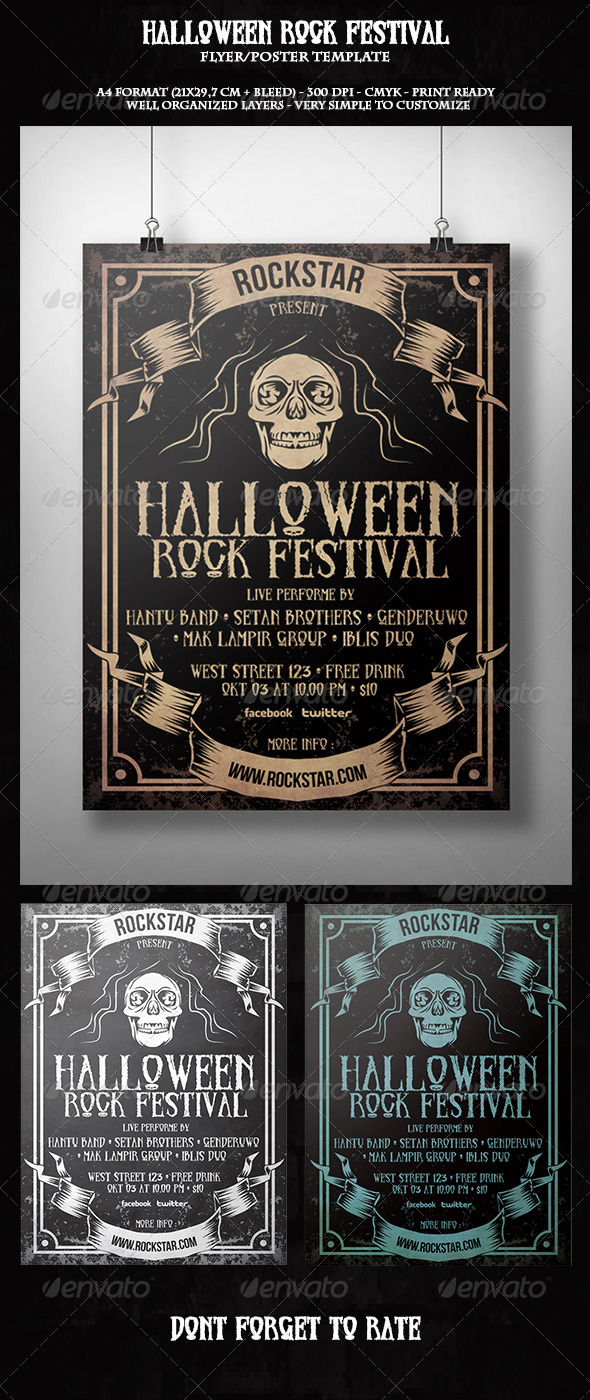GraphicRiver Halloween Rock Festival Flyer Template 5760134
