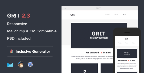 Grit - Responsive Email With Template Builder - Email Templates Marketing