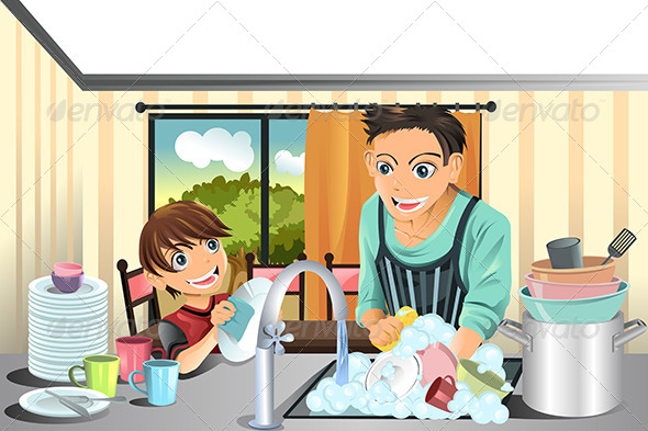 GraphicRiver Father and Son Washing Dishes 5761907