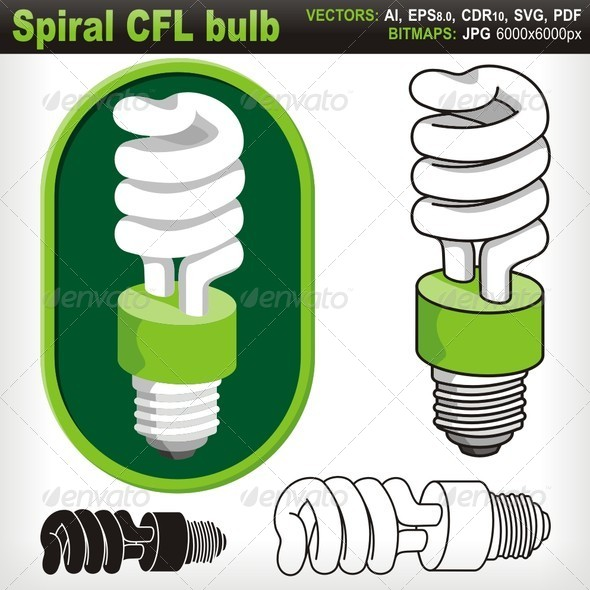 GraphicRiver Spiral Compact Fluorescent Light Bulb 5764980