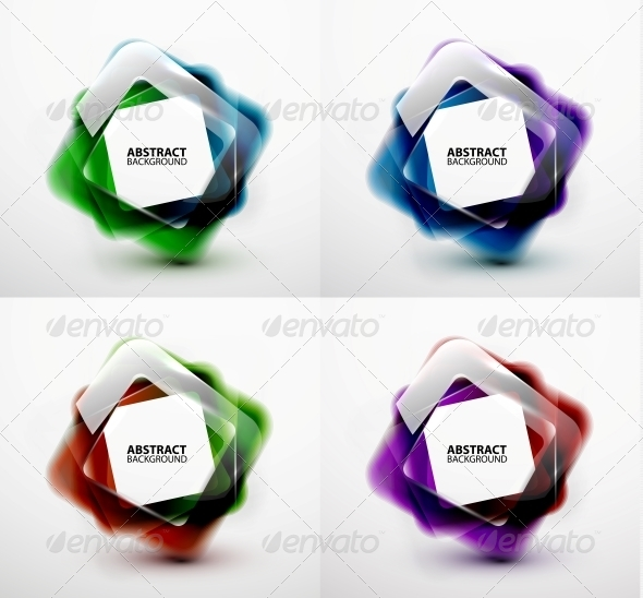 GraphicRiver Glossy and Blurred Square Vector Banners Templates 5765799