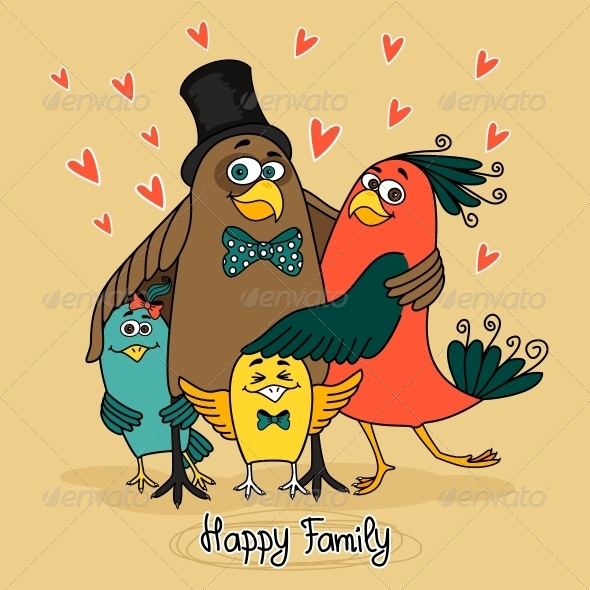 GraphicRiver Birds Happy Family 5766980