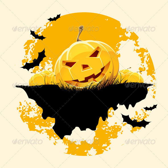 GraphicRiver Grungy Halloween Background with Pumpkins and Bats 5767448