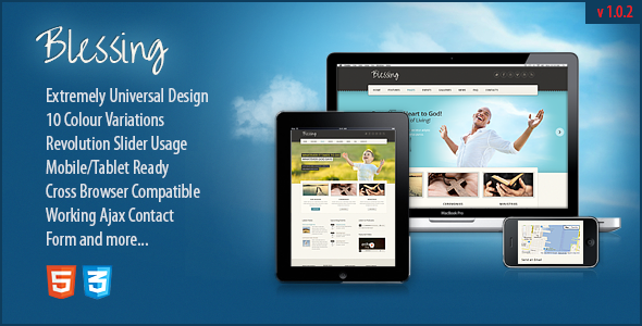 Blessing Responsive HTML5/CSS3 Template - Churches Nonprofit