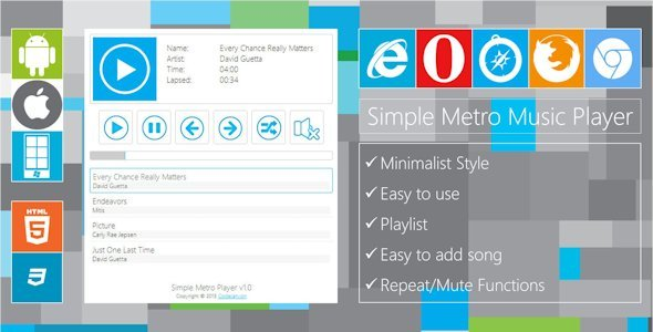 CodeCanyon Simple Metro Music Player 5237238
