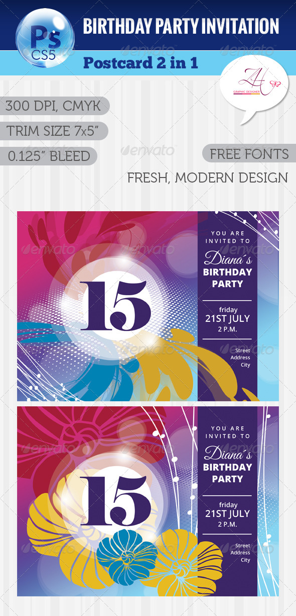 GraphicRiver Birthday Party Postcard 5768260