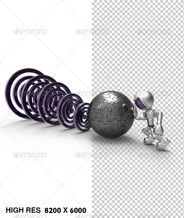 GraphicRiver 3D Golden Character Push Puzzle Iron Ball Target 5768736