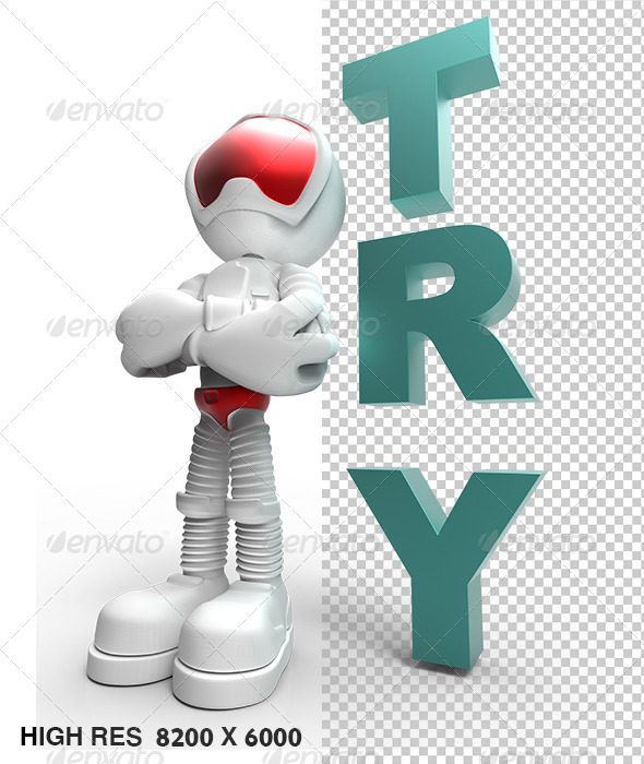 GraphicRiver 3D Silver Guy Character Tell You Tray Success 5768775