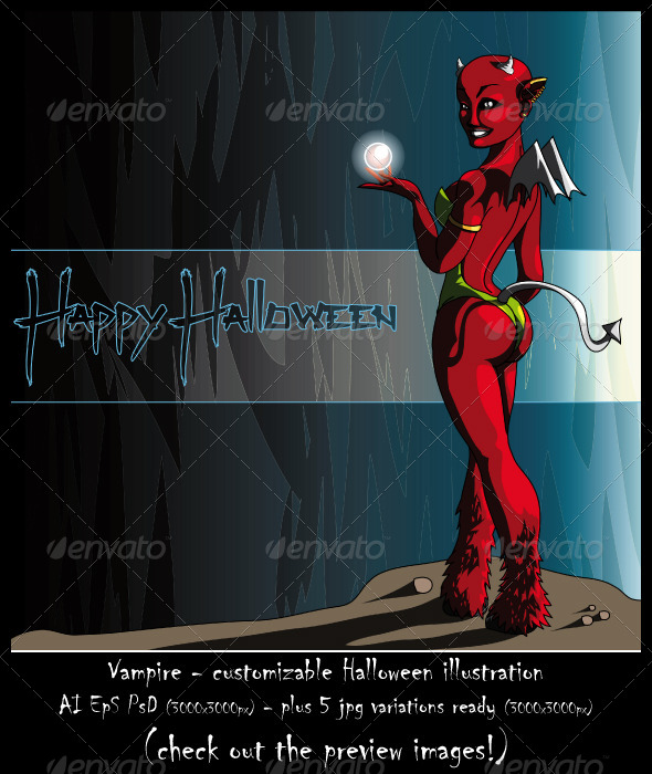 GraphicRiver Demon Halloween Customizable Illustration 5768961