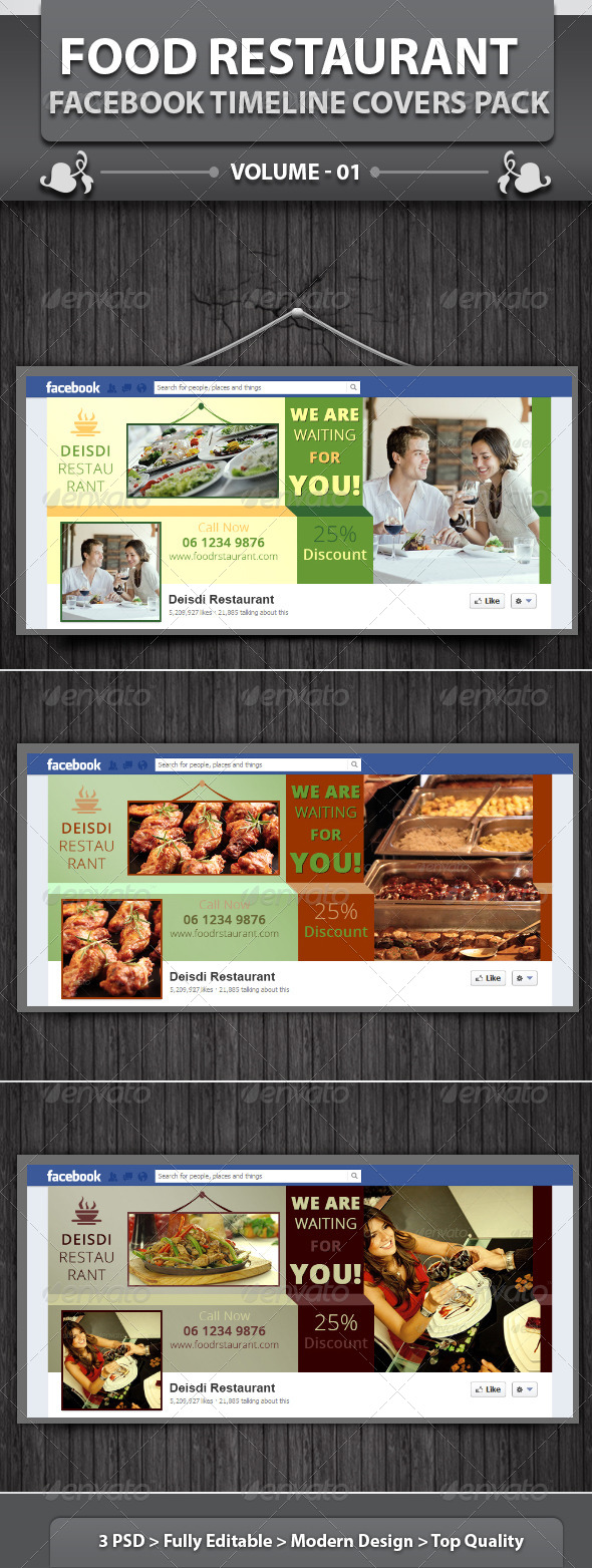 GraphicRiver Food Restaurant Facebook Timeline Covers Pack v1 5770083