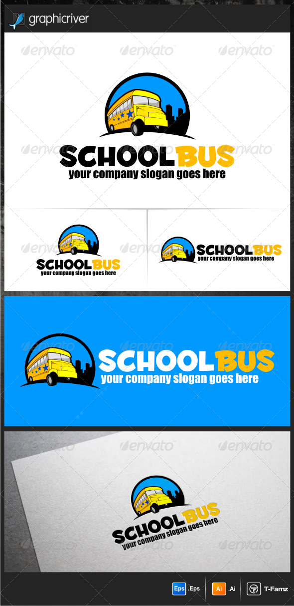 GraphicRiver School Bus Logo Templates 5771792