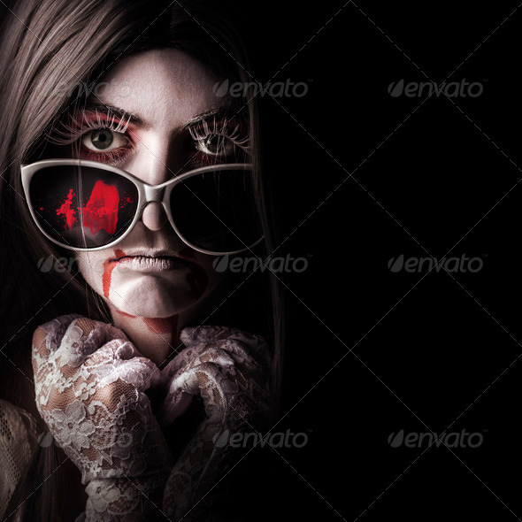 Vampire in the dark. Horror fashion portrait - Stock Photo - Images
