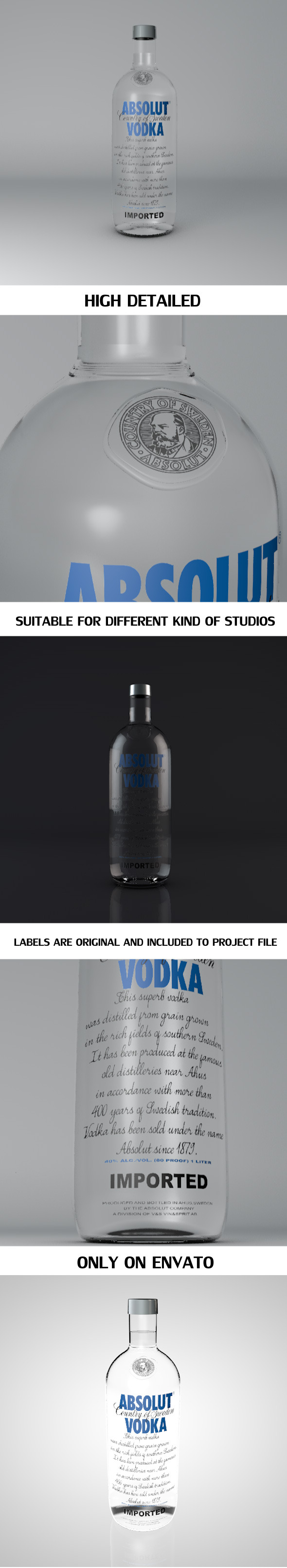 3DOcean Absolut Vodka Bottle 5776685