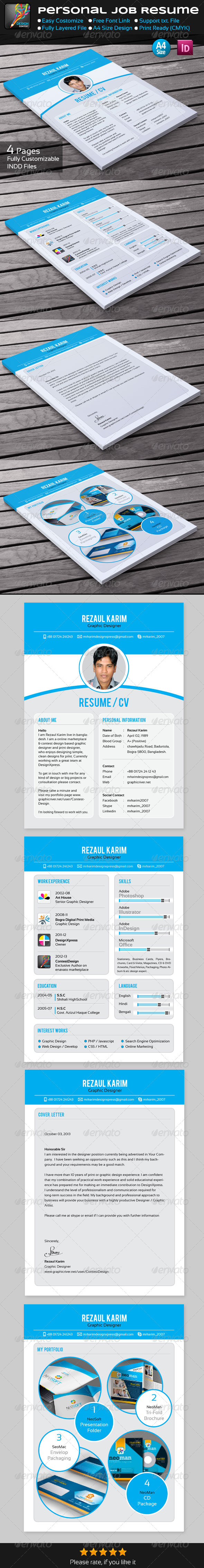 GraphicRiver Personal Job Resume 5777318
