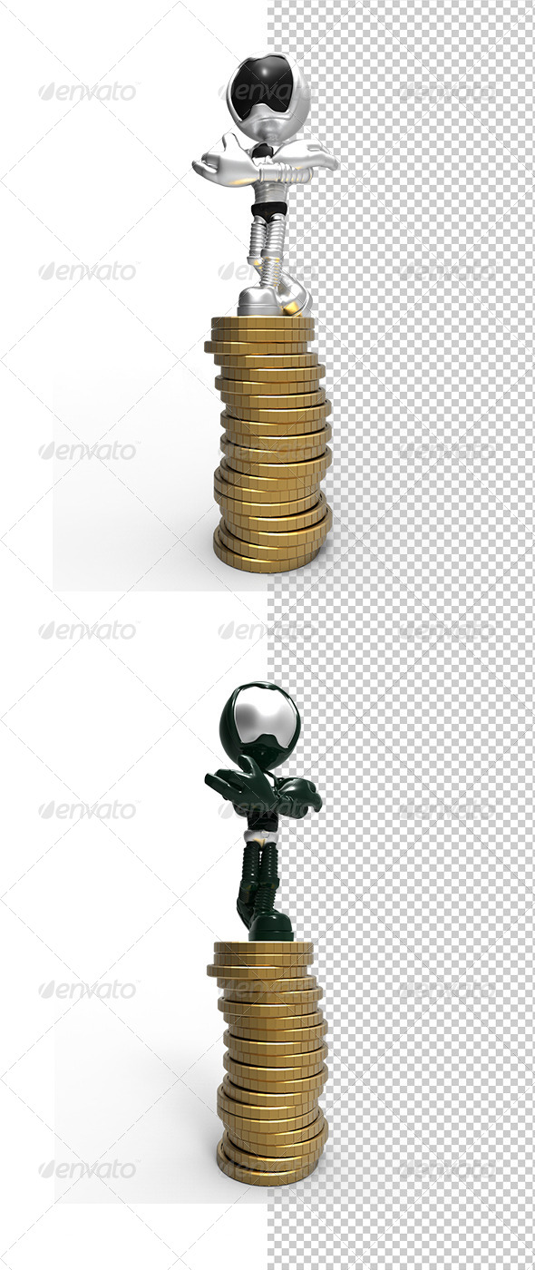 GraphicRiver Silver 3D Character Standing On Money Coins 5788295