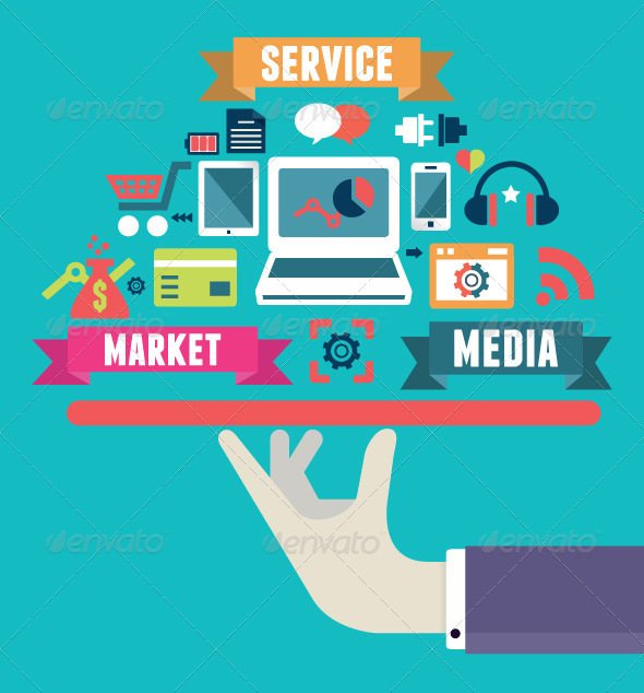 GraphicRiver Flat Concept of Media Market Service 5788902